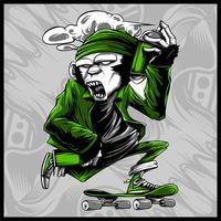 Affe Umgang mit Sprühfarbe und Skateboard