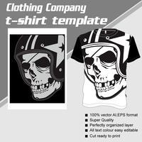 T-shirt mall, helt redigerbar med skallehjälm vektor
