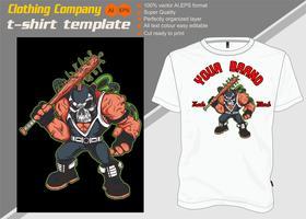 T-shirt mall, helt redigerbar med skalle mask vektor