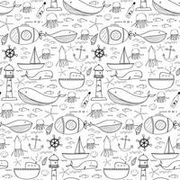 Hand gezeichnetes Muster mit Seehintergrund. Vektor-Illustration.