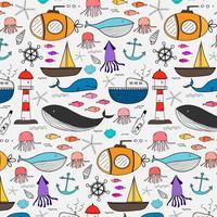 Handdragen mönster med havsbakgrund. Vektor illustration.