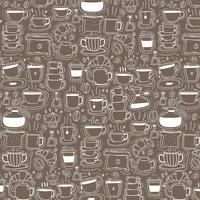 Mönster med Line Hand Drawn Doodle Coffee Background. Doodle Roligt. Handgjord vektorillustration. vektor