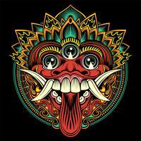 Traditionelle rituelle balinesische Maske. Vektorumreißabbildung - Vektor