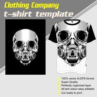 skalle t-shirt mall, handritning vektor