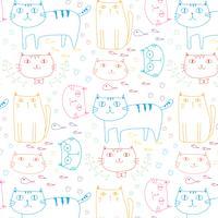Hand gezeichneter Katzen-Vektor-Muster-Hintergrund. Gekritzel lustig. Handgemachte Vektor-Illustration.