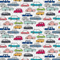 Mönster Med Handdragen Doodle Cars Bakgrund.