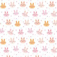 Söt kanin vektor mönster bakgrund. Rolig Doodle. Handgjord vektorillustration.