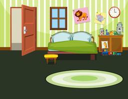 Eine grüne Schlafzimmervorlage