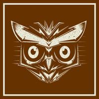 grunge stylevector uggla fågelhuvud som visar olika arter och fjäderdräkt, isolerad vektor