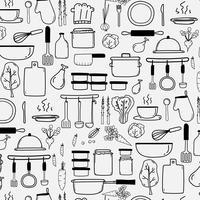 Muster mit Linie Hand gezeichneter Gekritzel-Vektor, der Hintergrund kocht, schließen das Kochen von Ausrüstungs-Rohstoffen ein. Vektor-Illustration. vektor