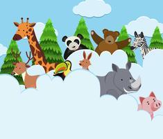 Wilde Tiere in den Wolken vektor