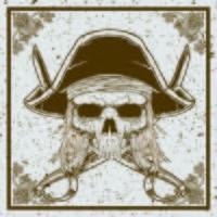 Schmutzart-Piratenschädel und -schwert kreuzten Vektorillustration