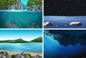 uppsättning av vatten bakgrundscener vektor