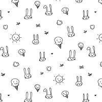 Hand gezeichneter lustiger Muster-Hintergrund. Gekritzel-Vektor-Illustration. vektor