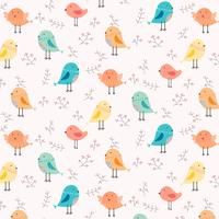 Handdragen söt fågel- och blomönster bakgrund. Vektor illustration.