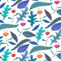 Handdragen blommönster bakgrund. Vektor illustration.