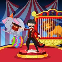 Ringmeister mit Tiershow im Zirkus vektor