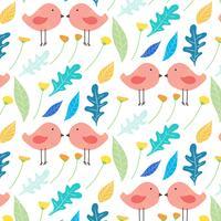 Handdragen blom- och söt fågelmönster bakgrund. Vektor illustration.