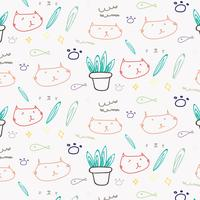 Gullig katt klotter mönster bakgrund. vektor