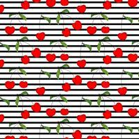 Handdragen Cherry Pattern Pattern Vector Illustration Bakgrund.