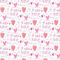 Handritad söt hjärta mönster bakgrund.
