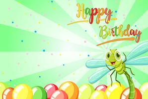 Insekt auf Geburtstagsschablone vektor