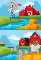 Zwei Szenen vom Bauernhof am Fluss entlang