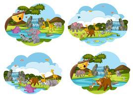 Set av djur scener vektor