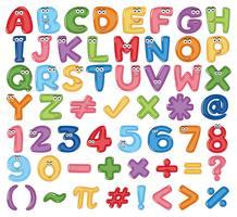 Buntes englisches Alphabet und Zahl vektor
