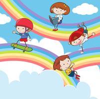 Gekritzel-Kinder, die auf Regenbogen spielen vektor
