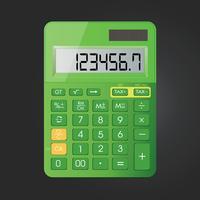 Realistische Taschenrechnervektorikone lokalisiert auf schwarzem Hintergrund vektor