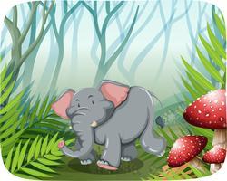 Elefant, der in die Wildnis läuft vektor