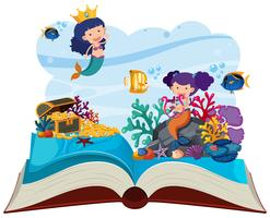 Unterwasserszene mit Meerjungfrauen knallen oben Buch vektor