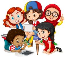 Barn som arbetar i grupp
