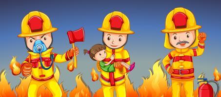 Brandman som hjälper en tjej vektor
