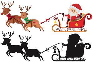 Weihnachtsschattenbild mit Sankt und Ren vektor