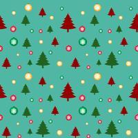 Nahtlose Hintergrundschablone mit Weihnachtsbäumen und Schneeflocken vektor