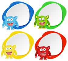 Fyra monster på färgbanner vektor