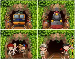 Set av campingbarn som utforskar naturen