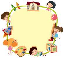 Grenzschablone mit glücklichen Kindern in der Schule vektor
