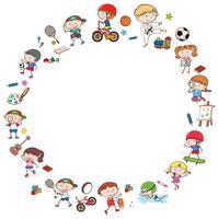 Gekritzel-Kinder mit Tätigkeits-Schablone vektor