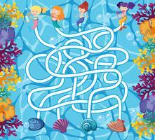 Puzzle-Spiel-Vorlage mit Meerjungfrauen im Ozean vektor