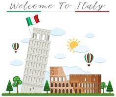 Välkommen till Italien och Landmark vektor