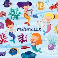Hintergrunddesign mit den niedlichen Meerjungfrauen Unterwasser vektor