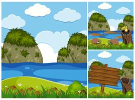 Drei Naturszenen mit Krokodilen im Fluss
