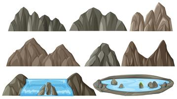 Ställ av olika berg