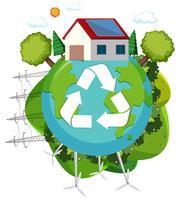 Grön energiåtervinningslogo vektor