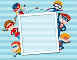 Set och superhero på ram vektor