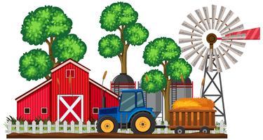 En jordbruksplats och traktor