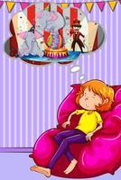 Kvinna nappa på soffan